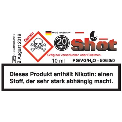 Nikotin Shot 20mg 10ml Ultrabio 50/50