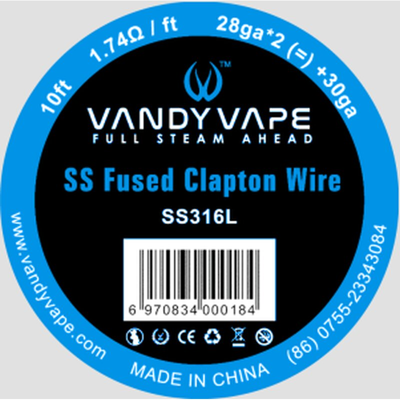 SS Fused Clapton Wickeldrath Vandy Vape 10ft
