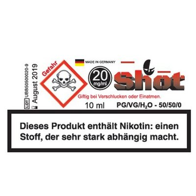 Nikotin Shot 18mg Ultrabio 50/50