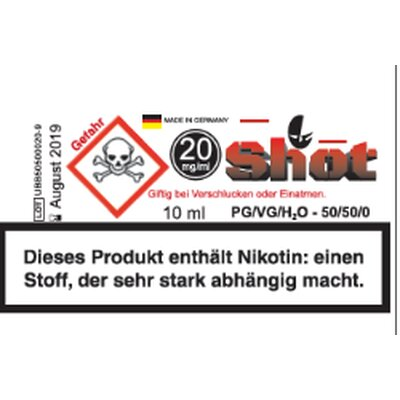 Nikotin Shot 20mg 10ml Ultrabio 80/20